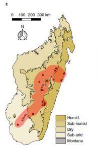 Répartition de l'Écrevisse marbrée à Madagascar (Mars 2017) (Gutekunst et al., 2018)