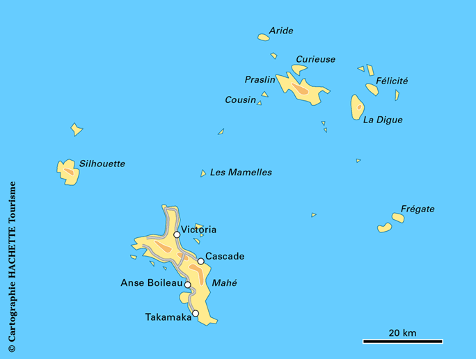 Principales îles des Seychelles