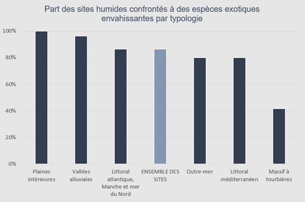 Jeux d'indicateurs sur les EEE de l'Évaluation nationale des sites humides emblématiques (2010-2020)